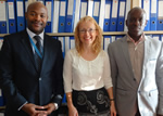 From left: Michael Wamai (pictured, First Secretary at the Permanent Mission of Uganda in Geneva, Vi Chief, Vlasta Macku, and Vi fellow, Timothy Esemu, of Makerere University Business School