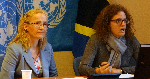 Vi Chief, Vlasta Macku (left), and Pilar Fajarnés, of UNCTAD's Division on Globalization and Development Strategies.
