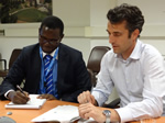 Vi fellow, Manfred Kouty, with UNCTAD mentor, Marco Fugazza