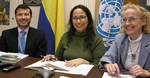 Pictured from left: Juan Camilo Saretzki-Forero, First Secretary of the Permanent Mission of Colombia to the UN, Scarlett Fondeur Gil, UNCTAD and Vlasta Macku, Virtual Institute