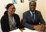 Marème Ndoye, lecturer and researcher at Vi core Senegalese member, Cheikh Anta Diop University (left), and Mamour Niang, First Secretary at the Permanent Mission of Senegal