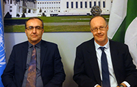 Vi officer in charge, Igor Paunovic (left) and UNCTAD economist, Ricardo Gottschalk during a videoconference with Pakistan's IBA