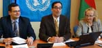 From left: Alexander Tzeliuk, Counselor at the Permanent Mission of the Republic of Belarus to the United Nations Office and other international organizations in Geneva; UNCTAD's Rolf Traeger; and Vi Chief, Vlasta Macku