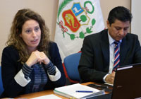 UNCTAD's Nolia Garcia Nebra (left) and Gerald Pajuelo Ponce, Counsellor at Peru's Permanent Mission to the UN in Geneva